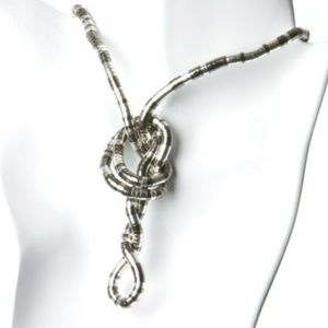 Jewelry - Unique Silver & Black Snake Twist Necklace FUN!!